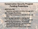 conservation security program funding projections