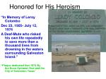honored for his heroism
