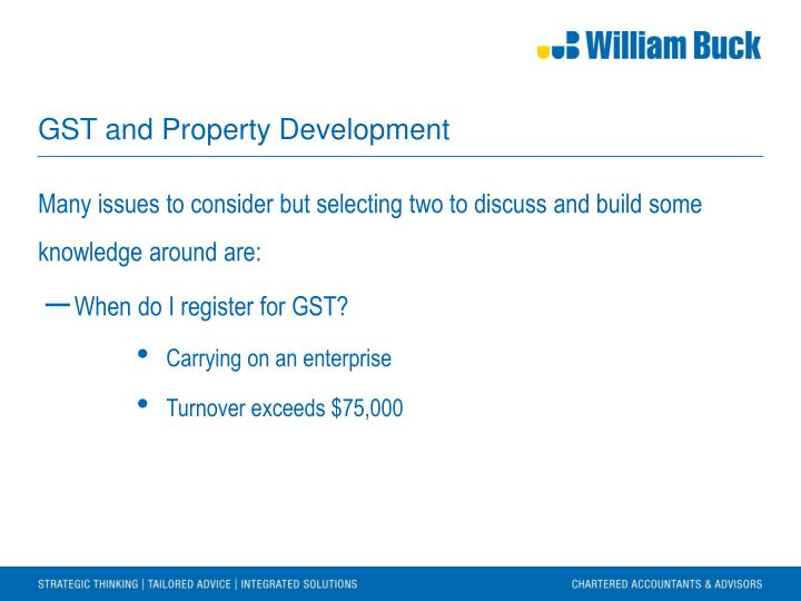 GST and Property Development