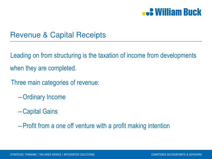 Revenue & Capital Receipts
