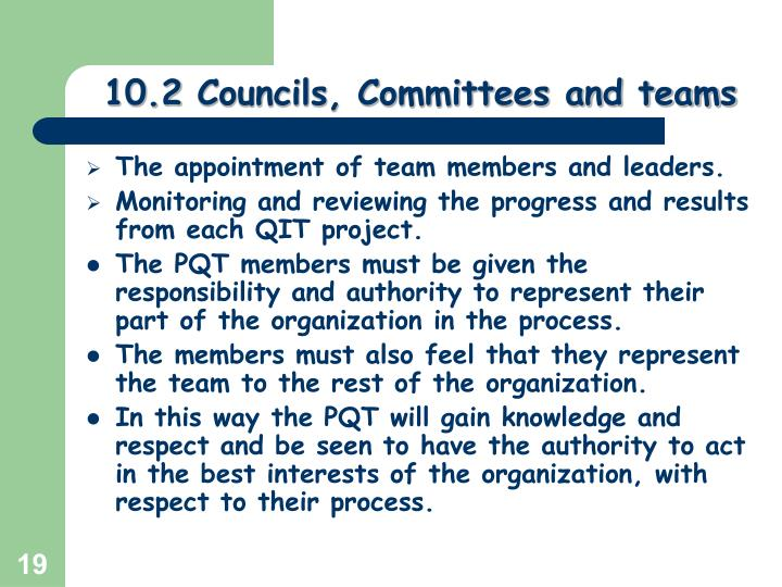 10.2 Councils, Committees and teams