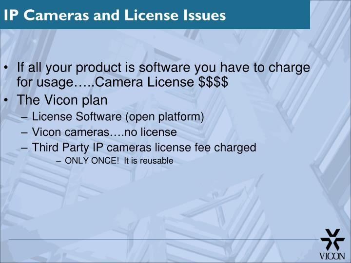 If all your product is software you have to charge for usage…..Camera License $$$$
