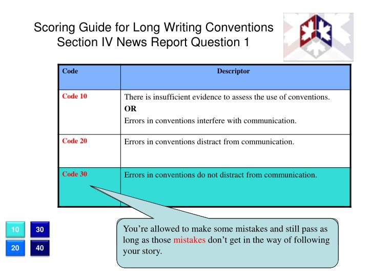 Scoring Guide for Long Writing Conventions Section IV News Report Question 1
