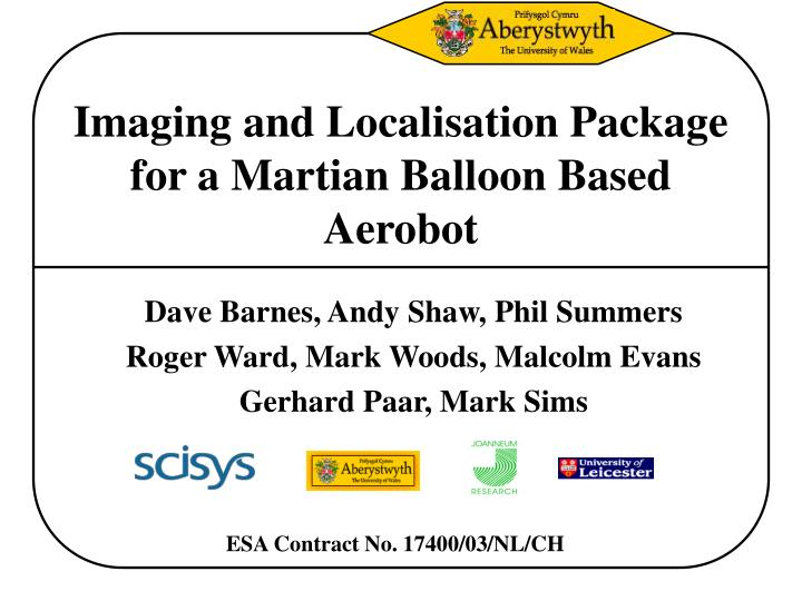 imaging and localisation package for a martian balloon based aerobot n.