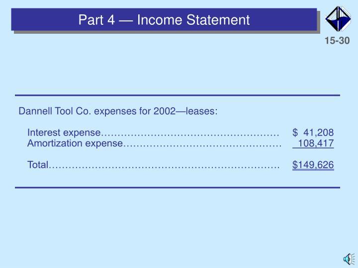 Part 4 — Income Statement