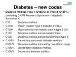 diabetes new codes