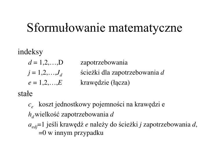 Sformułowanie matematyczne