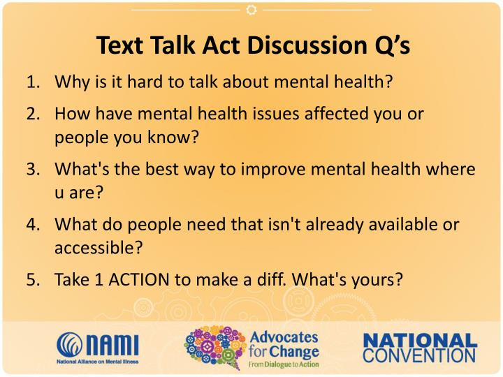 Text Talk Act Discussion Q's