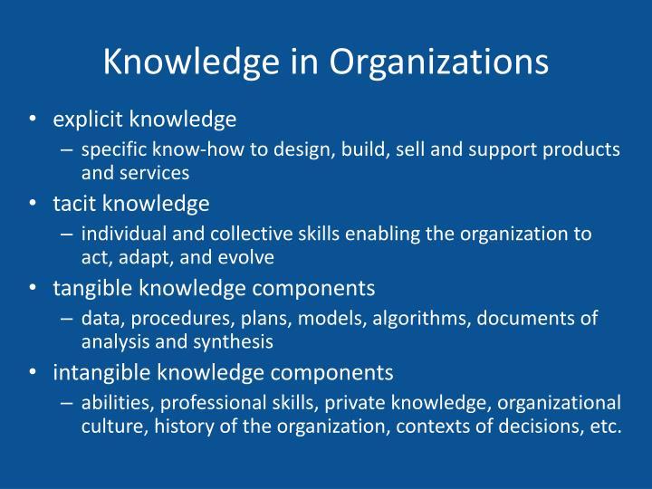 Knowledge in Organizations