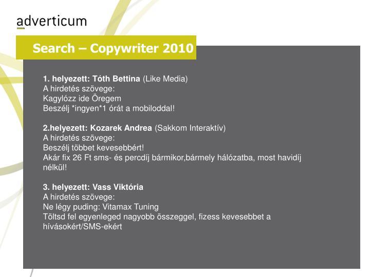 Search – Copywriter 2010