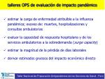 talleres ops de evaluaci n de impacto pand mico