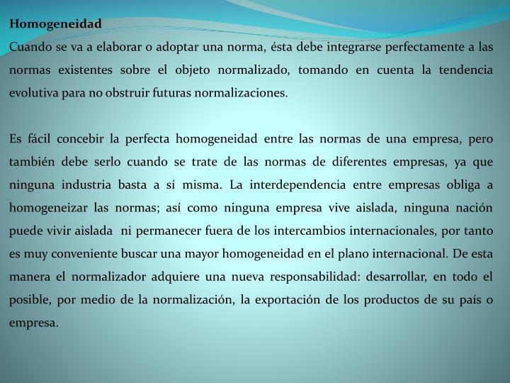 Homogeneidad