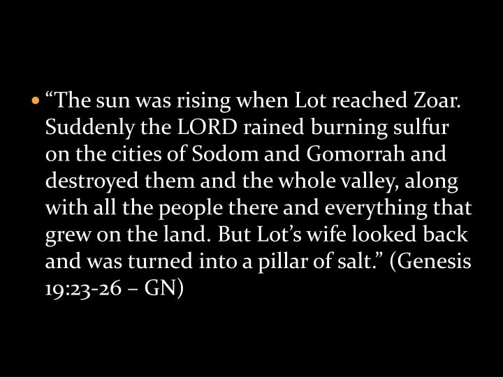 """""""The sun was rising when Lot reached Zoar. Suddenly the LORD rained burning sulfur on the cities o..."""