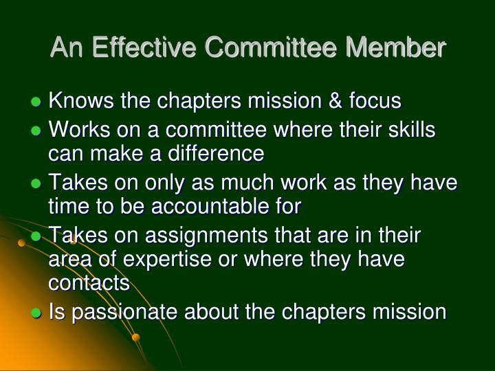 An Effective Committee Member