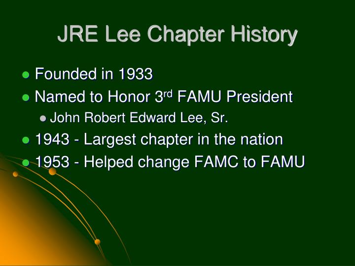 Jre lee chapter history
