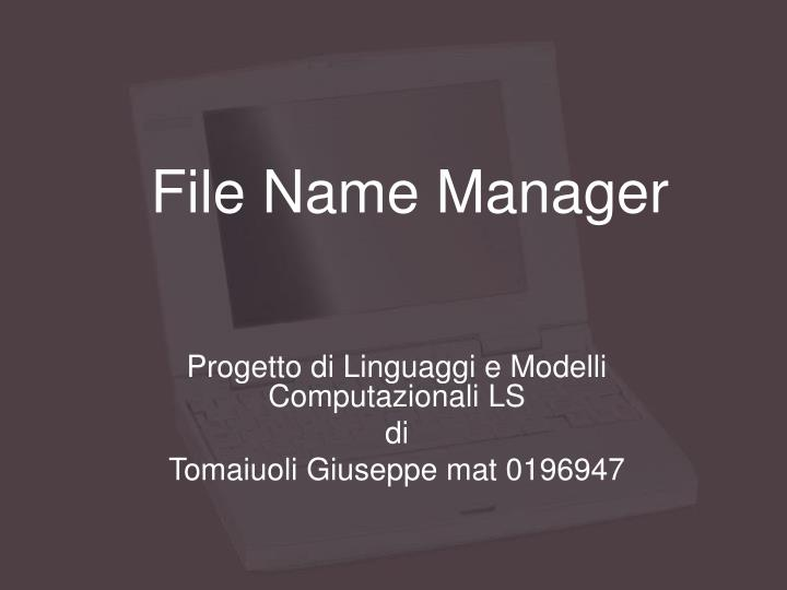 file name manager n.