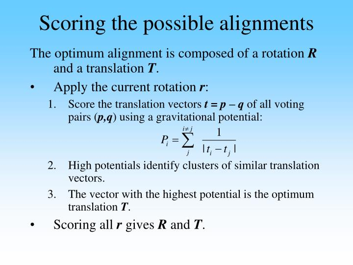 Scoring the possible alignments