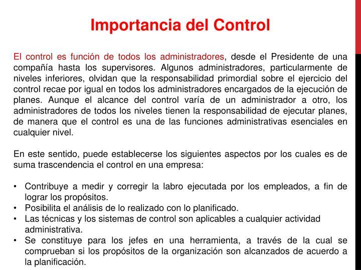 Importancia del Control