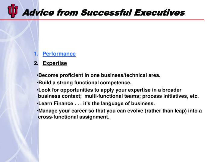 Advice from Successful Executives