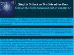 chapter 5 back on this side of the door click on the event happened first in chapter 5