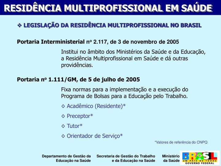 LEGISLAÇÃO DA RESIDÊNCIA MULTIPROFISSIONAL NO BRASIL
