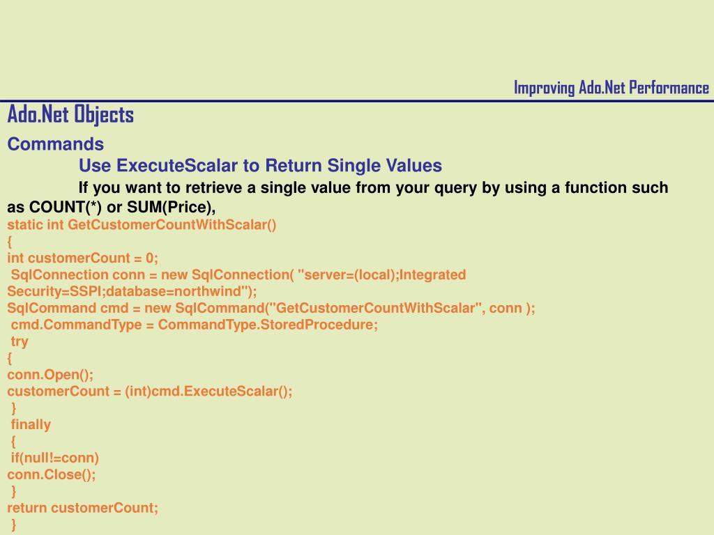 PPT - Improving Ado Net Performance PowerPoint Presentation