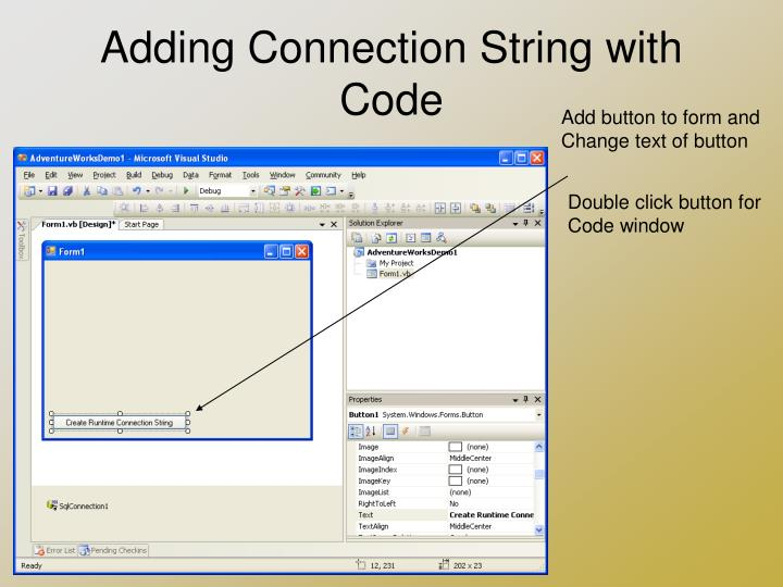 Adding Connection String with Code