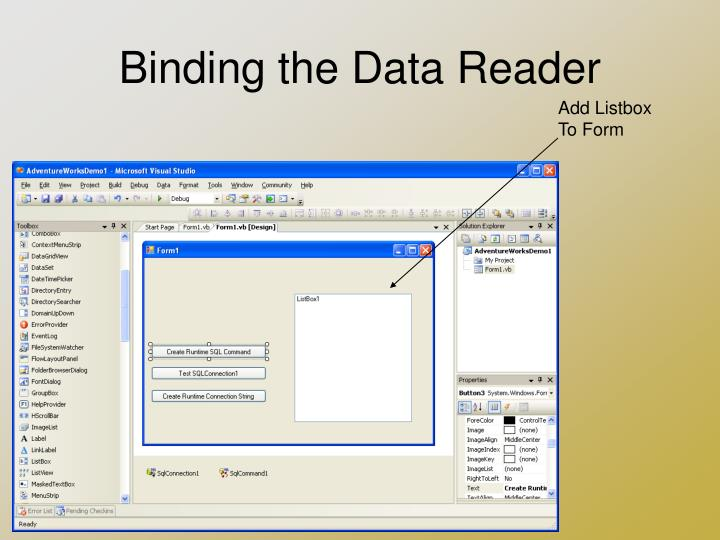 Binding the Data Reader