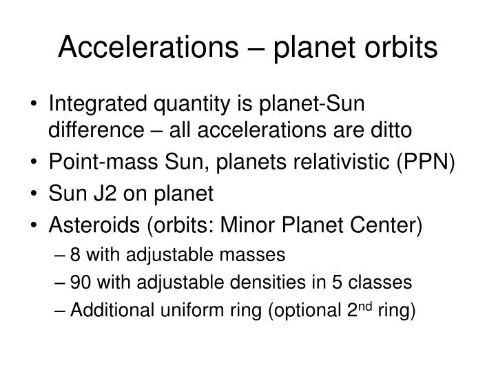 Accelerations – planet orbits