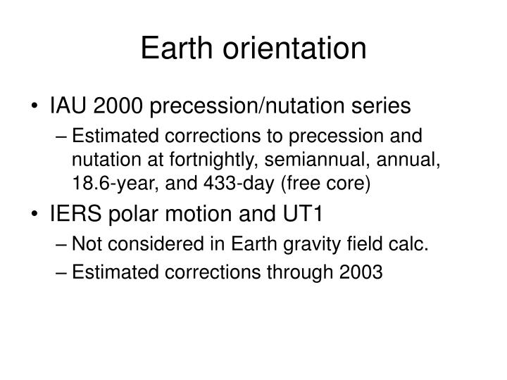 Earth orientation