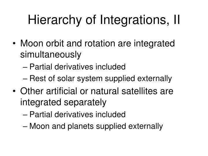 Hierarchy of Integrations, II