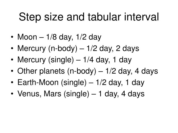 Step size and tabular interval