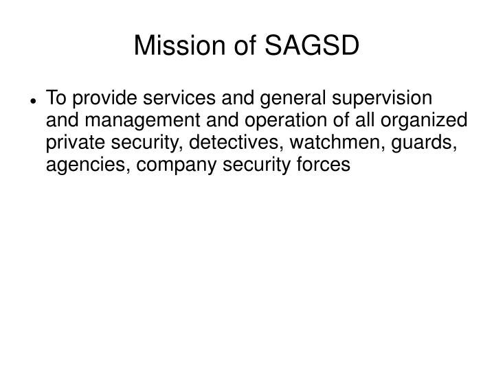 Mission of SAGSD
