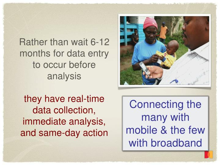 Rather than wait 6-12 months for data entry to occur before analysis