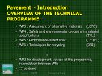 pavement i ntroduction overview of the technical programme2