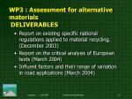 wp3 assessment for alternative materials deliverables