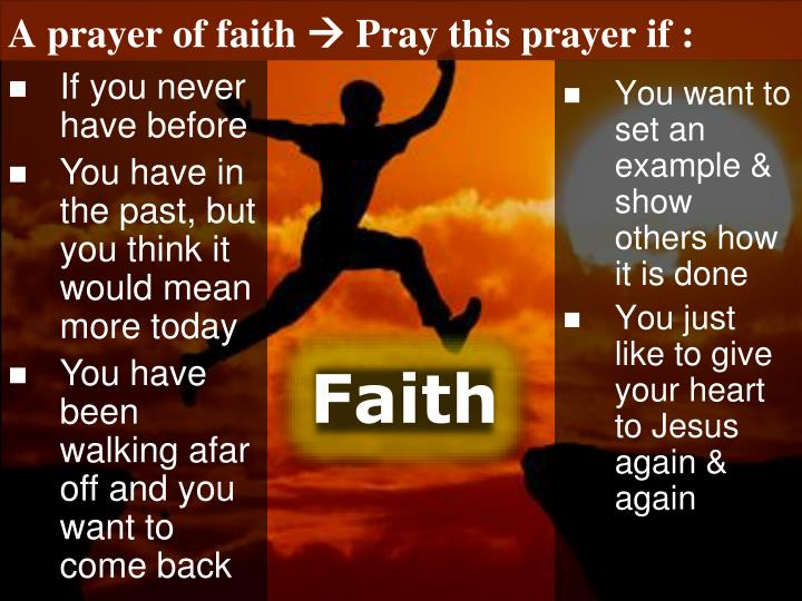 A prayer of faith