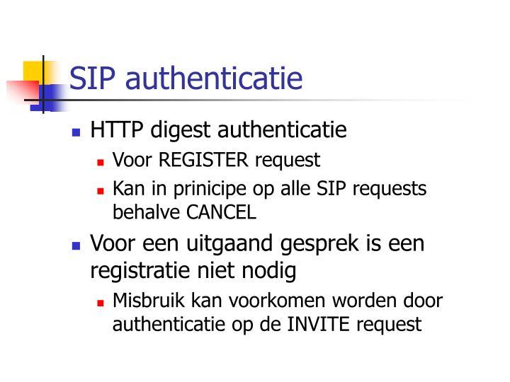 SIP authenticatie