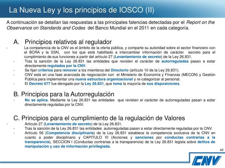 La Nueva Ley y los principios de IOSCO (II)