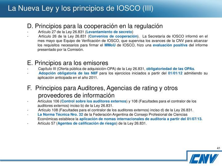 La Nueva Ley y los principios de IOSCO (III)