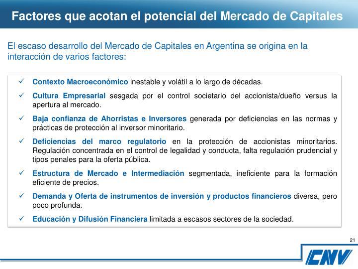 Factores que acotan el potencial del Mercado de Capitales