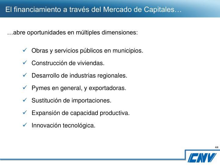 El financiamiento a través del Mercado de Capitales…