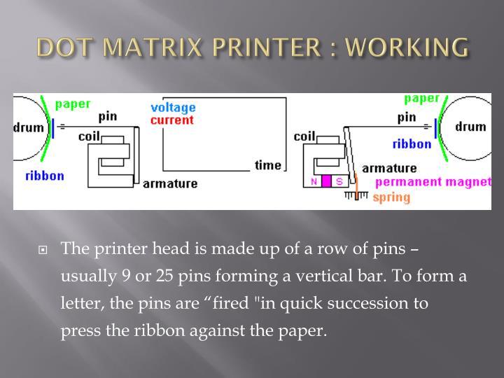DOT MATRIX PRINTER : WORKING