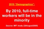 2010 demographics by 2010 full time workers will be in the minority source mit study 28august2000