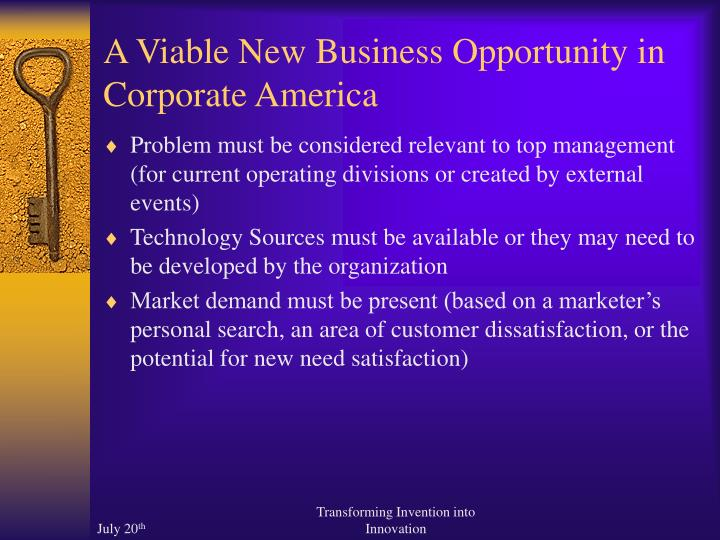 A Viable New Business Opportunity in Corporate America