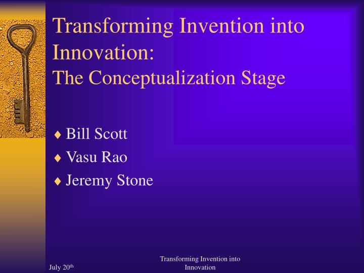 transforming invention into innovation the conceptualization stage n.