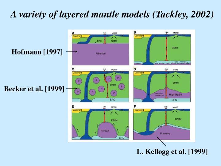 A variety of layered mantle models (Tackley, 2002)