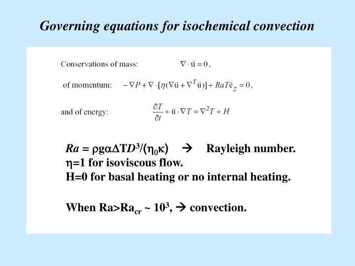 Governing equations for isochemical convection