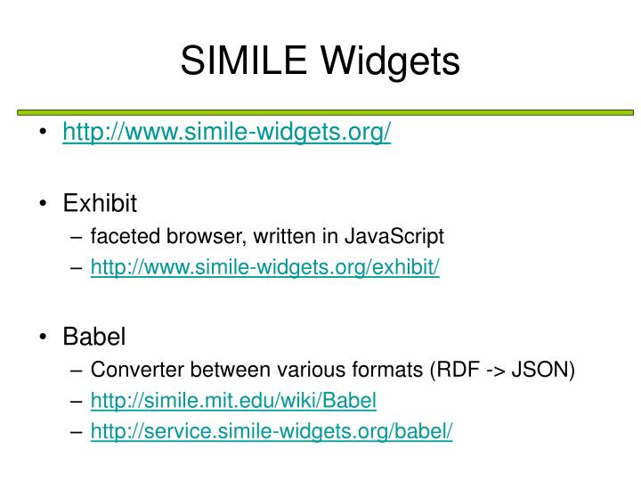 SIMILE Widgets