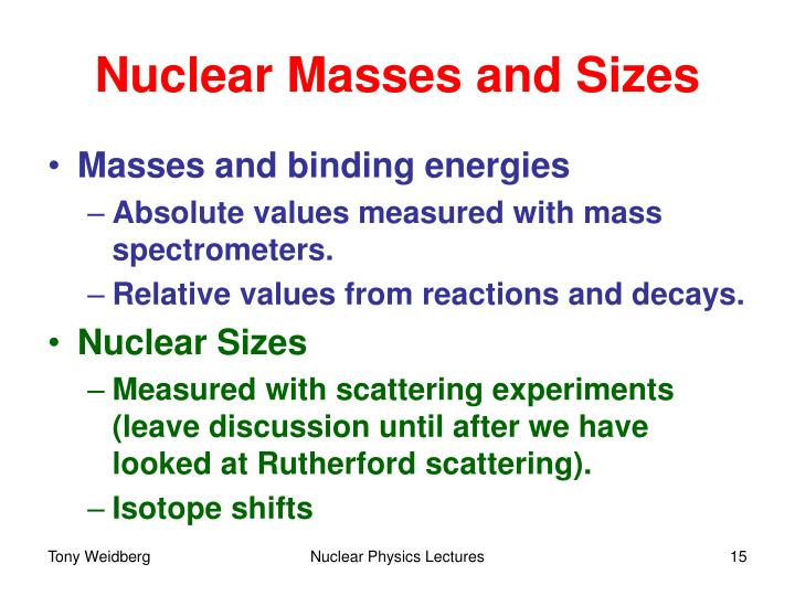 Nuclear Masses and Sizes